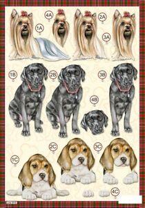 Craft UK A4 Die Cut Decoupage Line 615 - DOGS Yorkshire Terrier Labrador Beagle