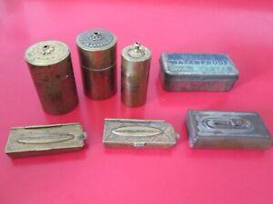 7 Antique WAX VESTA    MATCH SAFES / BOXES  / HOLDERS