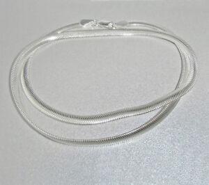 925 Sterling Silber Damen Halskette Collier Schlangenkette flach - 42 cm / 4 mm