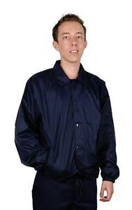 Men Nylon Coach Jacket Staff Windbreaker Snap Front Lined Water Resist Sz S-3X