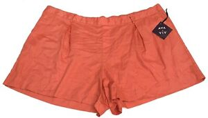 NWT Ava & Viv Women's Linen Blend Pull On Shorts Red Pleated Front Select Size