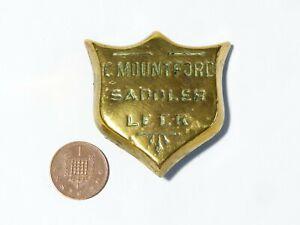 Antique C. MOUNTFORD Saddler LEEK Shield Shaped Makers Horse Brass Mount  #HB30