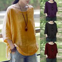 Oversize Women Cotton Ethnic Vintage Shirt Tops Round Neck Split Hem Blouse Plus