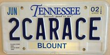 TN vanity 2 CAR RACE  Mustang License Plate Sports Racing NASCAR Ford BMW GM Lex