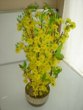 """plastic artificial yellow apricot flower tree with pot 30"""" tall (hoa mai)"""