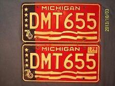 Vtg 1976 MICHIGAN License Plates Matched Set Muscle Car Garage Classic Trans Am