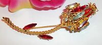 Vintage Long Stem Flower Gold Tone Red Green Glass Rhinestone Brooch Pin Retro