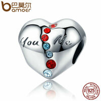 BAMOER Christmas s925 Sterling silver Charm Heart Bead With red cz Fit bracelets