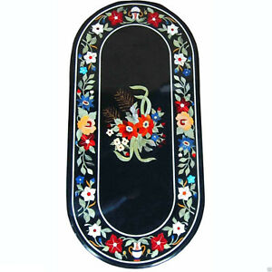 """36"""" x 22"""" Marble Table Top Semi Precious Stones Floral Inlay Work"""