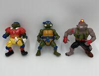 Teenage Mutant Ninja Turtles VTG Lot Of 3 TMNT Leonardo 1990's