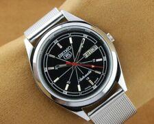 VINTAGE SEIKO 5 EXCELLENT BLACK DIAL AUTOMATIC JAPAN MEN'S  WRIST WATCH 36mm
