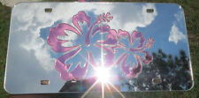 PINK HIBISCUS FLOWER CHROME CUSTOM MIRRORED LISENCE PLATE LASER CUT ACRYLIC