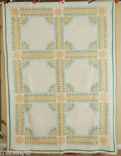 EYE CATCHING Vintage 30's New York Beauty Stars Antique Quilt ~GREAT COLORS!