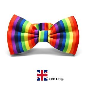 RAINBOW SATIN BOW TIE Gay Pride Adjustable Multi Colour Clown Fancy Dress NEW UK