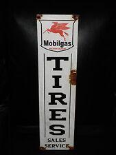 Antique style-porcelain look Mobil pegasus tires oil dealer gas pump sign Nice