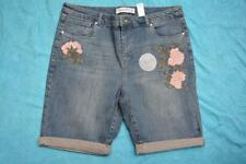 NEW SUZANNE GRAE DENIM Stretch MID Denim SHORTS w Embroidery Size 16 RRP$49.95