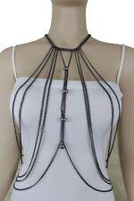 Women Black Metal Body Chains Long Necklace Jewelry Pewter Harness Bikini Charms
