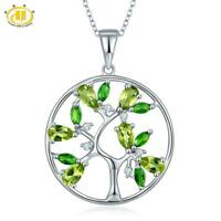 Tree Pendant Genuine Peridot Diopside w/ Solid 925 Sterling Silver for Christmas