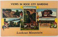 Vintage Rock City Gardens Georgia GA Lookout Mountain Linen Postcard