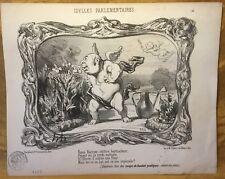 1850 Original HONORE DAUMIER Lithograph Idylles Parlementaires: Voyez Berryer