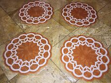 """NWT KIM SEYBERT Spring Easter Floral Scallop Orange BEADED PLACEMATS Charger 15"""""""