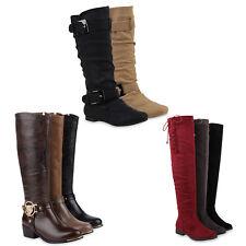 Damen Stiefel Reiterstiefel Langschaft Boots Leder-Optik 77920 Schuhe