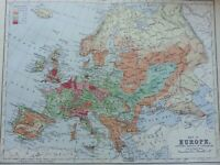 ANTIQUE PRINT C1900 MAP OF EUROPE DENSITY OF POPULATION MAP OF THE WORLD ATLAS