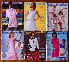 A16) lot de 6 Femmes d'Aujourd'hui 1966; Modes, Beauté, Cuisine, Maison, Lecture