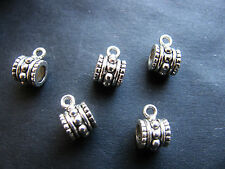 8 Metallperlen, Verbinder für Anhänger 10 mm, Silberfarben, Perlen basteln,