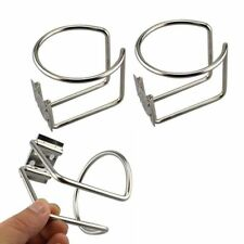 2Pcs Steel Boat Ring Drink Cup Holder Kit Silver For Car Truck Marine RV Trailer