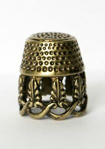 Thimble Openwork Floral Tracery Solid Brass Metal Russian Souvenir Collectible