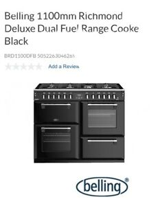 Belling Richmond 1100mm Black Deluxe Dual Fuel Cooker