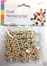 alphabet perle en bois Set collier bracelet cube forme lettres nom KIT