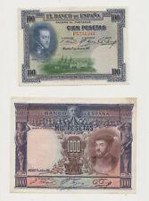 LOT DE BILLETS ESPAGNE 1,5,25,50,100,1000 PESETAS BANCO ESPANA 1925 / 1928 /1935