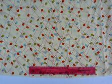 Liberty Vintage 100% silk crepe de chine 110 cm with orange green crem 1m length