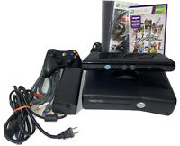 Microsoft Xbox 360 S Console 4GB Black+Controller+AV/PWR Cables+5 games+Kinect