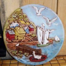"B.B. Mold Plate 11"" in diameter raised scenery Villa by the ocean theme"