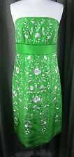 Monsoon 100% Silk Cocktail Strapless Green Dress - Size 12 EXCELLENT CONDITION