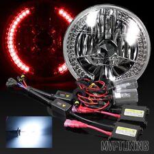 "Ring Diamond Headlights Conversion/8000K Hid Kit 7"" Round Chrome Crystal Red Led"