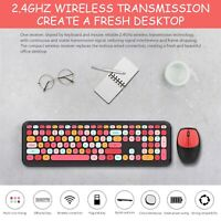 Wireless Keyboard and Mouse Combo, Pink Wireless Keyboard, 2.4GHz Retro Full