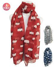 Women Ladies Long  Lamb / Sheep Print Pattern Shawl Scarf  Warp