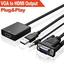 VGA To HDMI Output 1080P HD+USB Audio TV AV HDTV Video Cable Converter Adapter B