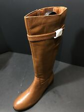NEW Trotters Women Lyra Wide Calf Cognac Tumbled Leather Boot Sz 9.5M RTL $200