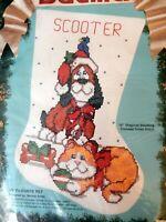 NIP 1991 Bucilla 82922 My Favorite Pet Christmas Stocking Kit Dog and Cat