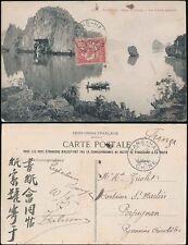 CHINA 1907 FRENCH P.O SHANGHAI...PPC TONKIN BAY ALONG