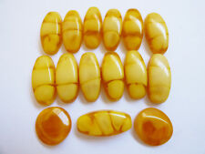 VTG Lot of 15 Russian Amber color round Cabochons beads for bracelet necklace