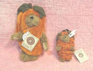 Boyds Bears: Lot 2. Halloween Bear & Ornamnt. Gourdon Punkinpeeker & Lil Punkin