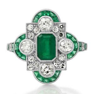 Art Deco Emerald Platinum Diamond Ring Antique Vintage Design Certified Natural