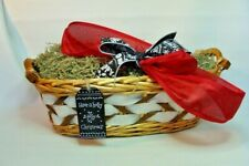 Gift Basket Supplies Light Wicker Long Oval w/Ornament 7x7.5x17.5 Ready To Fill