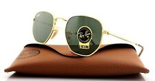 NEW Genuine RAY-BAN HEXAGONAL FLAT LENSES Gold Green G-15 Sunglasses RB3548N 001